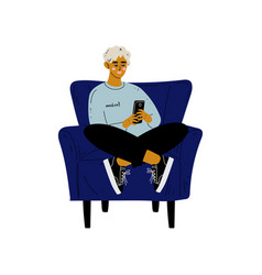 young man sitting in armchair with smartphone guy vector image