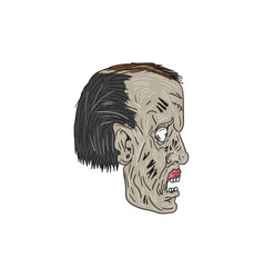Zombie head side drawing vector