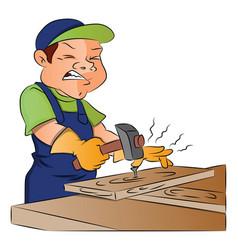 carpenter nailing nail into wooden plank vector image vector image