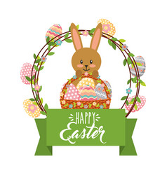 cute bunny with basket and frame eggs decoration vector image