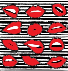 Girl lipstick mouth set for patch or sticker vector image