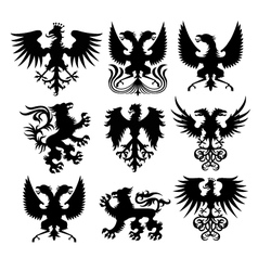 griffin and eagle set vector image
