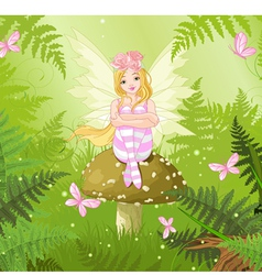 Magic fairy in forest vector image