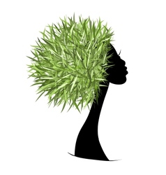 Organic hair care concept female head for your vector image