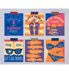 set of retro summer cards Beautiful vector image
