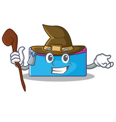 witch pencil case character cartoon vector image