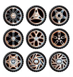 aluminium wheels pack vector image