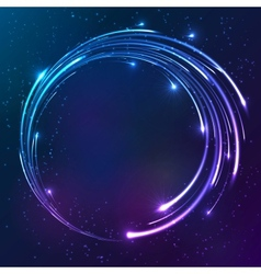 Bright shining neon lights circle background vector image vector image