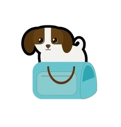 Puppy little canine adorable blue pet carrier bag vector
