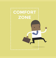 businessman jumping out of the comfort zone vector image vector image