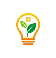 light bulb leaf abstract realty idea logo vector image