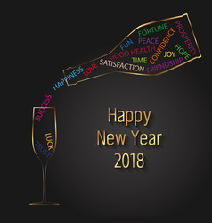 new year 2018 typography champagne bottle glass vector image vector image