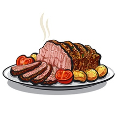 roast beef with potatoes vector image vector image