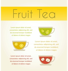 three cups of tea with fruit tea infographics vector image