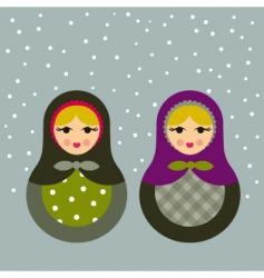 winter babushkas vector image