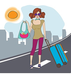 young woman with suitcase vector image vector image