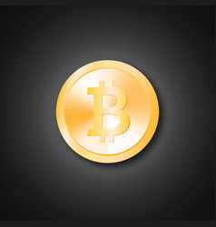 realistic golden bitcoin vector image vector image