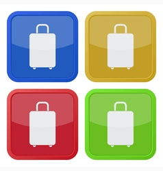 Set of four square icons with suitcase vector