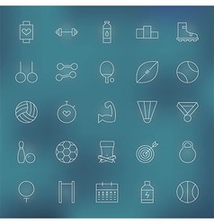 Sport and Fitness Line Icons Set vector image