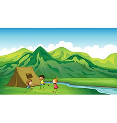 Three children playing vector image vector image