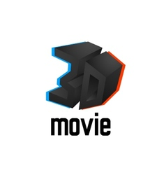 3D movie logo icon cinema design template with vector