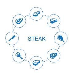 8 steak icons vector