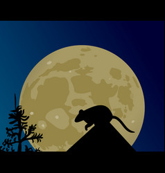 A huge moon glows the silhouette of the rat on vector