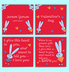 a set of cards with cartoon rabbits for valentines vector image