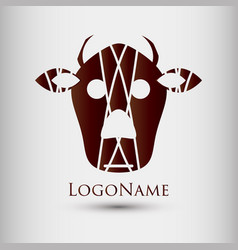 abstract logo with cow head modern style logotype vector image