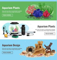 Aquarium horizontal banners vector