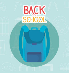 Back to school label with bag vector