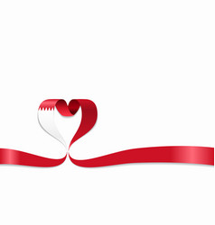 bahrain flag heart-shaped ribbon vector image
