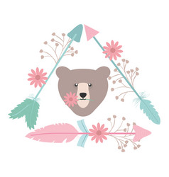 bear grizzly with feathers and arrows bohemian vector image