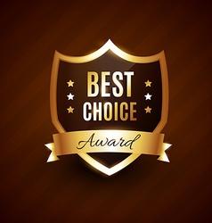 best choice golden award label badge vector image