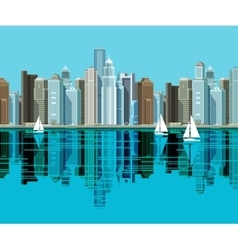 Big city Skyscrapers stand on the beach and vector