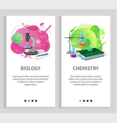 Biology and chemistry school subjects university vector