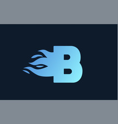 Blue flames b alphabet letter icon for business vector