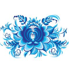 Blue flower in gzhel style vector image