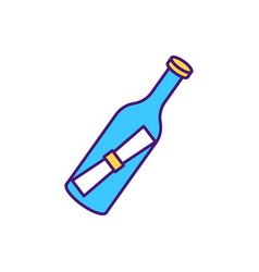bottle with paper hints inside rgb color icon vector image