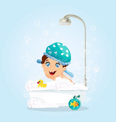 boy in blue hat washing in bathtub with toys vector image