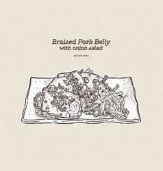 Braised pork belly hand draw sketch vector