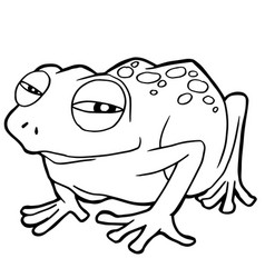 cartoon cute frog coloring page vector image