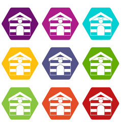 cat house icon set color hexahedron vector image