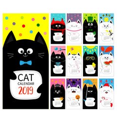 cat vertical monthly calendar 2019 cover all vector image