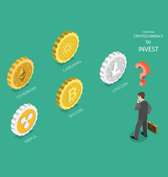 Choosing cryptocurrency flat isometric vector