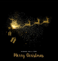 Christmas gold glitter santa claus holiday card vector
