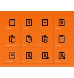 Clipboard icons on orange background vector image