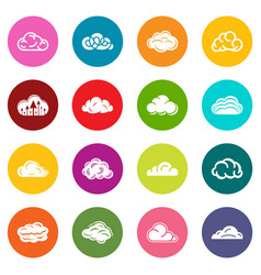 cloud icons set colorful circles vector image