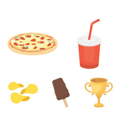 cola pizza ice cream chipsfast food set vector image