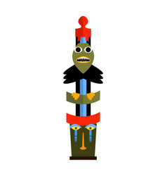 Colorful totem pole isolated on white background vector